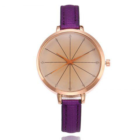 Faux Leather Strap Round Watch - PURPLE