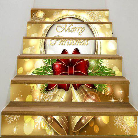 Christmas Bells Snowflakes Patterned Stair Stickers - GOLDEN 6PCS:39*7 INCH( NO FRAME )