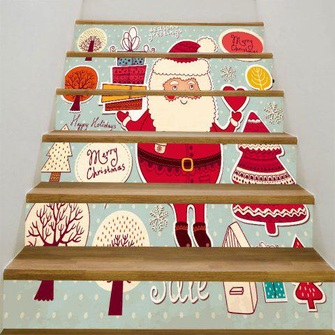 Santa Claus Gifts Trees Patterned Stairway Stickers - RED/WHITE/BLUE 6PCS:39*7 INCH( NO FRAME )
