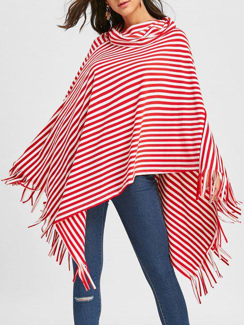 Fringe Striped Cowl Neck Poncho - RED M