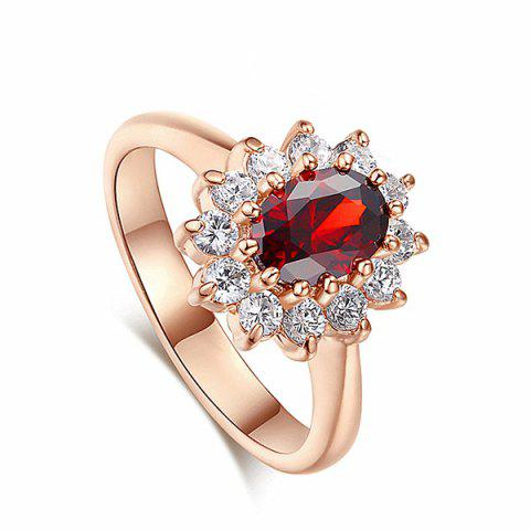 Crystal Embellished Artificial Sapphire Wedding Ring - RED 6