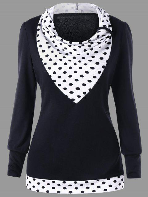 Polka Dot Cowl Neck Tunic Sweatshirt - BLACK L