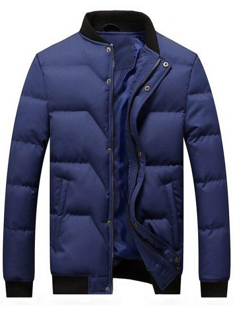 Zipper and Button Padded Bomber Jacket - BLUE L