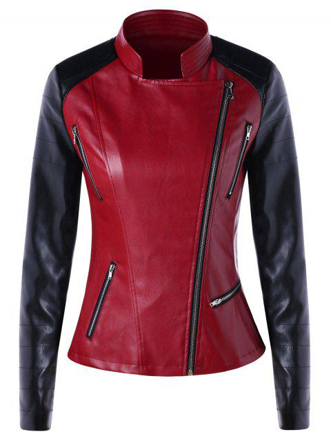Oblique Zipper Color Block Faux Leather Jacket - BLACK/RED M