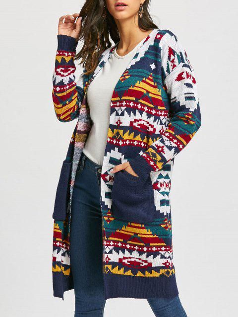 df40af9e242 41% OFF  2019 Christmas Geometric Long Knit Sweater Cardigan In DEEP ...