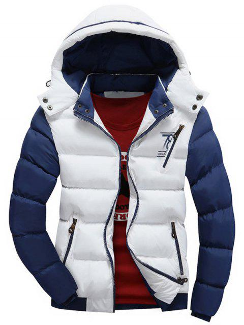 Detachable Hood Graphic Two Tone Padded Jacket - WHITE XL