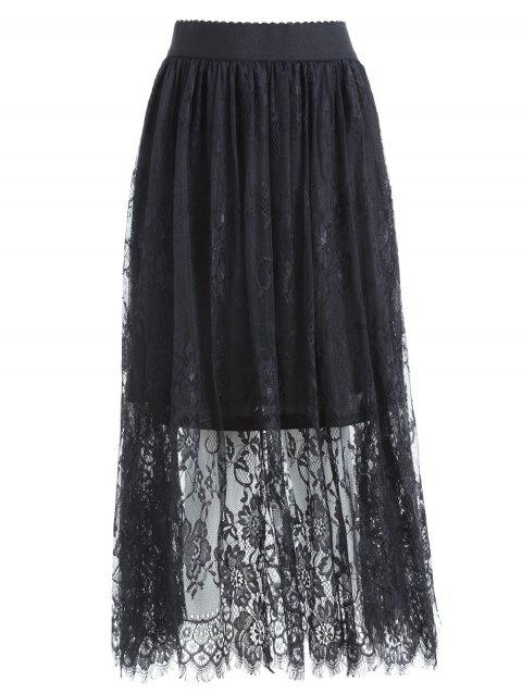 Plus Size Lace  Long Waist Low Skirt - BLACK 5XL