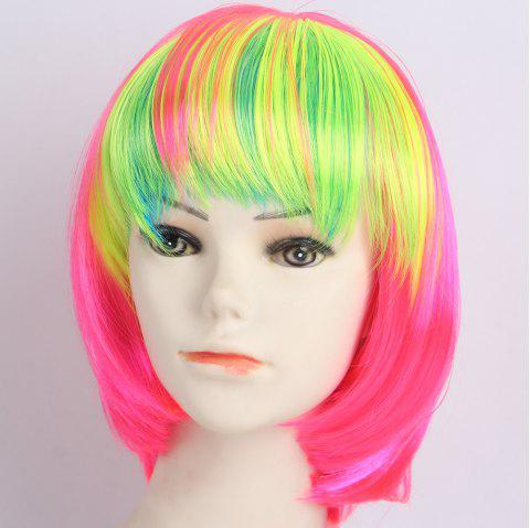 Short Neat Bang Straight Bob Lolita Synthetic Wig - YELLOW/RED