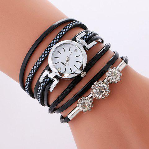 Rhinestone Wrap Layered Bracelet Watch - BLACK