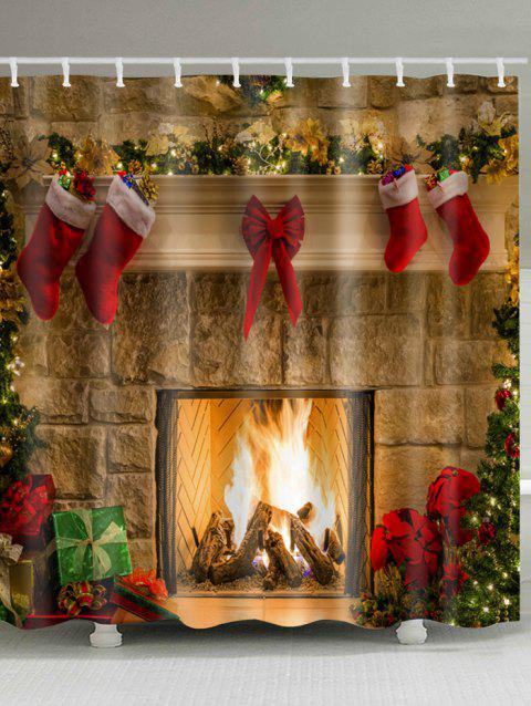 Christmas Fireplace Stockings Print Waterproof Bathroom Shower Curtain - COLORMIX W59 INCH * L71 INCH
