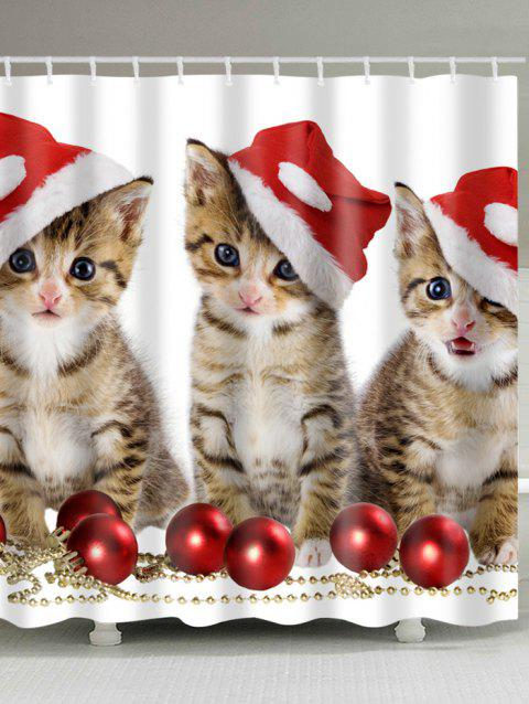 Christmas Cats Baubles Print Waterproof Bathroom Shower Curtain - COLORMIX W71 INCH * L79 INCH