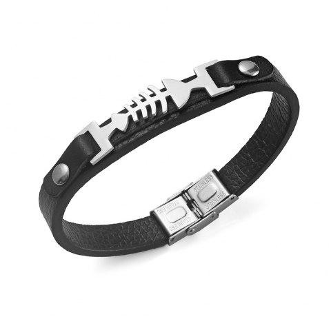 Stainless Steel Artificial Leather Fishbone Bracelet - SILVER