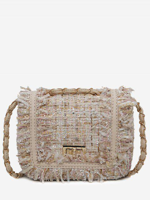 Frayed Edge Color Block Crossbody Bag - OFF WHITE