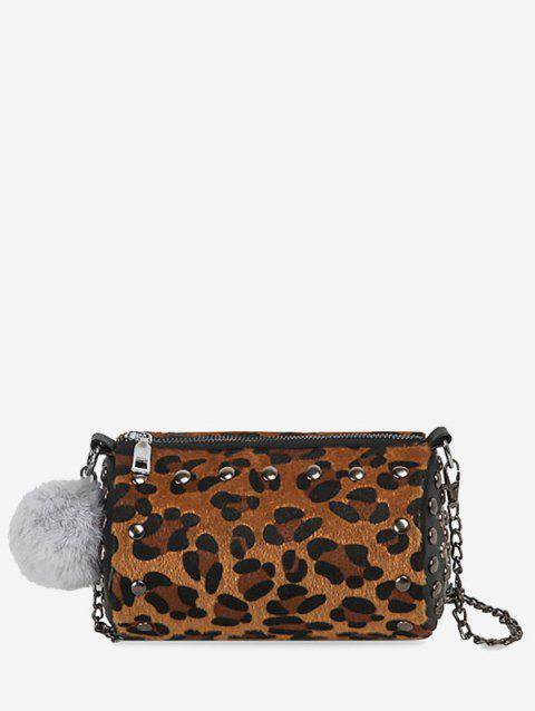 Pompom Studs Chain Crossbody Bag - LEOPARD GOLD COLOR LENS