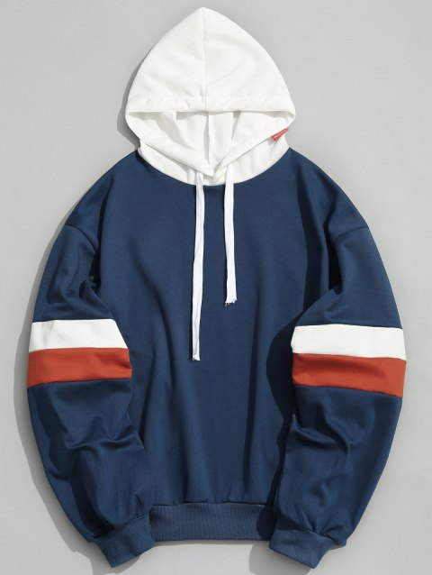 Pullover Contrast Color Hoodie - BLUE XL