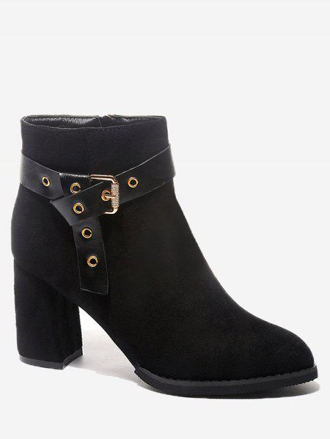 Faux Suede Ankle Side Zipper Boots - BLACK 35