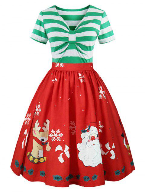 55 Off 2018 Christmas Panel Plus Size Flared Dress In Light Green