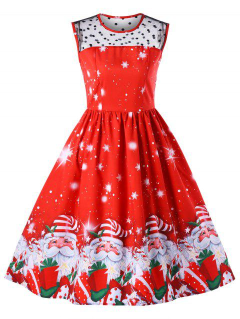 9b3c3a64357378 41% OFF  2019 Christmas Santa Claus Print Mesh Insert Dress In RED M ...