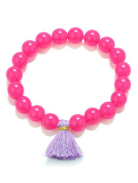 Beaded Tassel Stretch Bracelets - ROSE RED