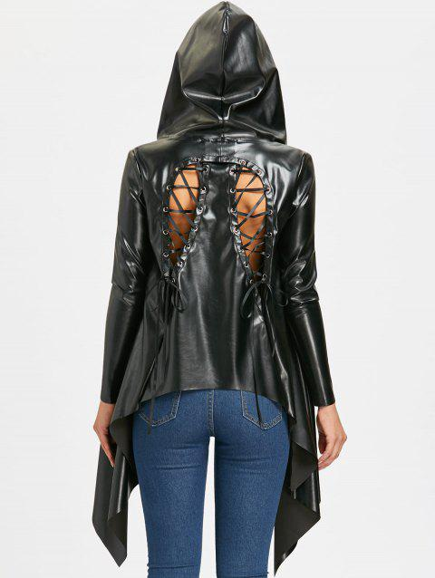 Back Lace Up PU Leather Asymmetric Jacket - BLACK XL