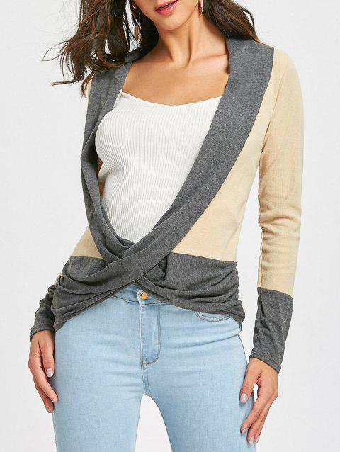 Long Sleeve Ribbed Wrap Top - BEIGE M