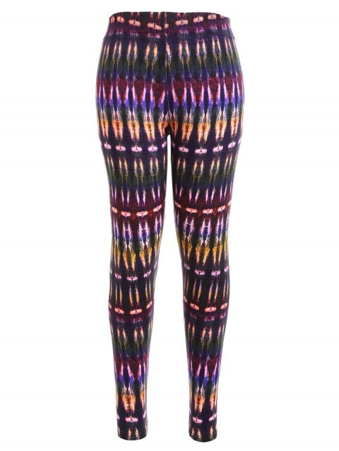 Multicolor Bamboo Printed High Waist Workout Leggings - COLORMIX S