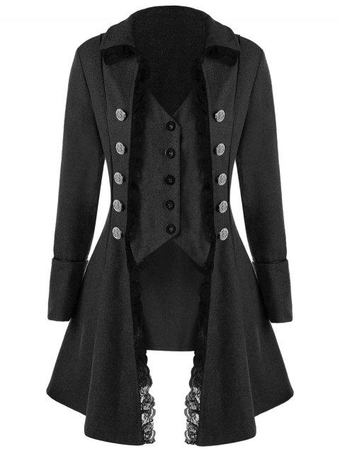 Lace Panel Button Up Tailcoat - BLACK GREY L