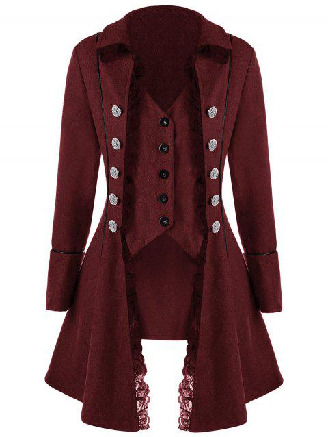 Lace Panel Button Up Tailcoat - WINE RED M