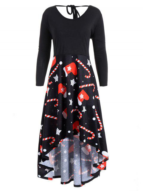 Mother Christmas Outfits Plus Size.Christmas Printed Plus Size High Low Dress
