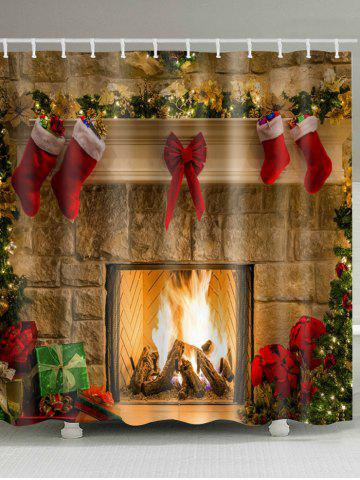 christmas fireplace stockings print waterproof bathroom shower curtain - Christmas Stockings For Men