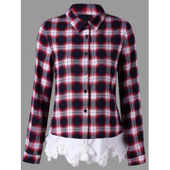 Lace Trim Plaid Button Up Shirt - CHECKED CHECKED