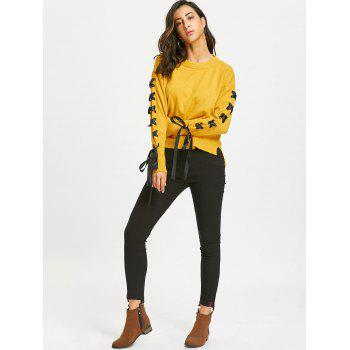Drop Shoulder Lace Up High Low Sweater - YELLOW ONE SIZE