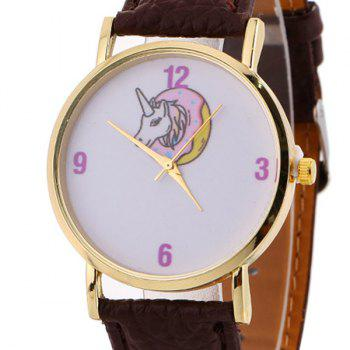Faux Leather Strap Unicorn Face Watch - BROWN