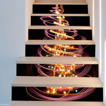 colored christmas tree patterned staircase stickers colorful 6pcs397 inch no - Colored Christmas Tree