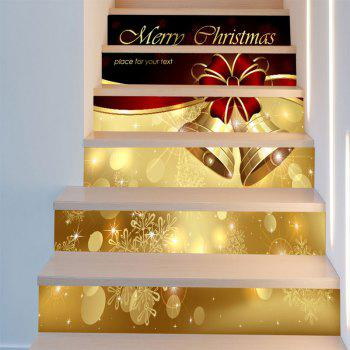 Snowflakes Christmas Bells Patterned Stair Stickers - RED/GOLDEN 6PCS:39*7 INCH( NO FRAME )