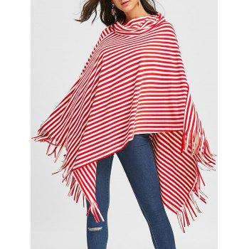 Fringe Striped Cowl Neck Poncho