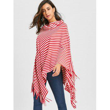 Fringe Striped Cowl Neck Poncho - RED RED