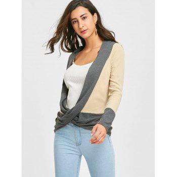 Long Sleeve Ribbed Wrap Top - BEIGE L