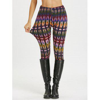 Multicolor Bamboo Printed High Waist Workout Leggings - COLORMIX M