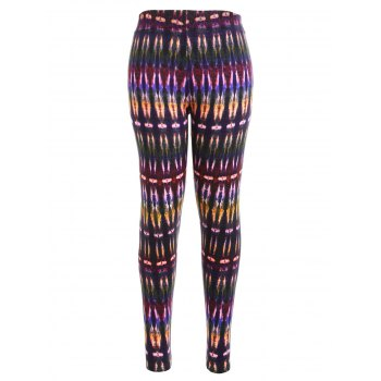 Multicolor Bamboo Printed High Waist Workout Leggings - COLORMIX COLORMIX