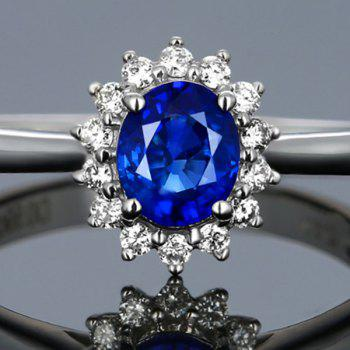 Crystal Embellished Artificial Sapphire Wedding Ring - BLUE 6