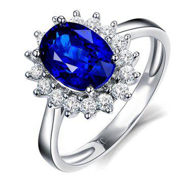 Crystal Embellished Artificial Sapphire Wedding Ring - BLUE 8