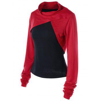 Two Tone Cowl Neck Sweatshirt with Tank Top - RED/BLACK 2XL