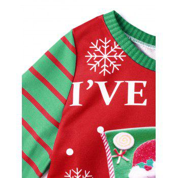 Christmas Santa Claus Graphic Together Sweatshirt - RED/GREEN XL