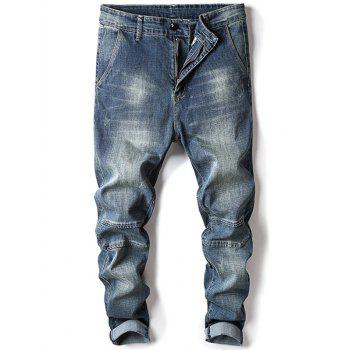 Zip Fly Tapered Fit Faded Jeans - LIGHT BLUE 34