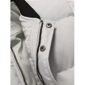 Zipper and Button Padded Bomber Jacket - LIGHT GRAY L