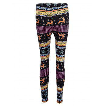 Skinny Christmas Elk Print Leggings - BLACK S