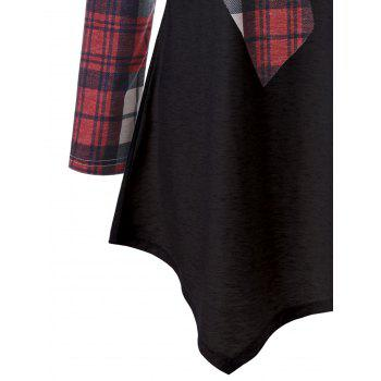 Plaid Reindeer Asymmetric Top - RED 2XL