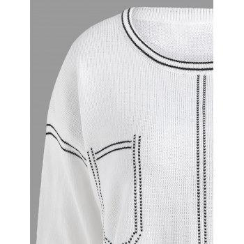 Plus Size Contrast Drop Shoulder Simple Sweater - WHITE 5XL