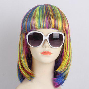 Short Neat Bang Straight Bob Lolita Synthetic Wig - BLUE+YELLOW+RED BLUE/YELLOW/RED